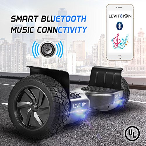 Levit8ion Latest 2018 XTREME HUMMER 8.5″ Off Road UL 2272 Hoverboard 700w Dual Motor All Terrain Tires, Metal Fenders, LED Lights, Bluetooth, Li-Ion Battery
