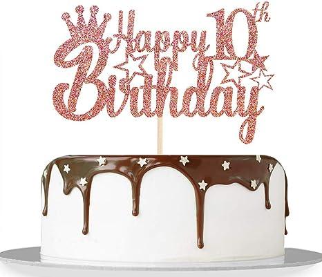Pleasing Amazon Com Rose Gold Glitter Happy 10Th Birthday Cake Topper For Funny Birthday Cards Online Inifodamsfinfo