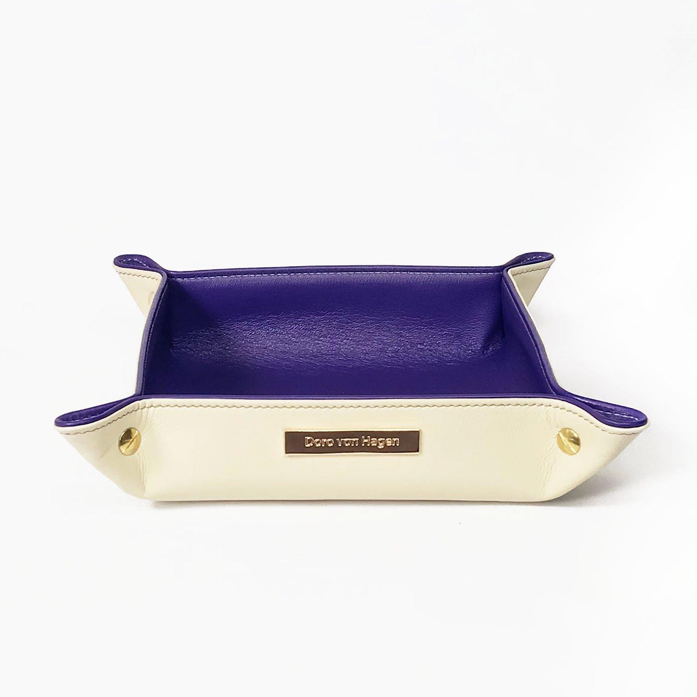 Vera Pelle Designer Chiave ripiano/Svuotatasche, Limited Edition, 20x 20cm, esterno crema, interno viola. Fatto a mano nel nostro negozio atelier in Germania, con tessuto di raso regalo imballaggio (L 3–24) Doro von Hagen