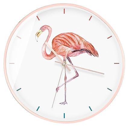 LOTOS Reloj De Pared del Flamenco Relojes De Cuarzo del Metal Mudo Creativo De Alta Calidad