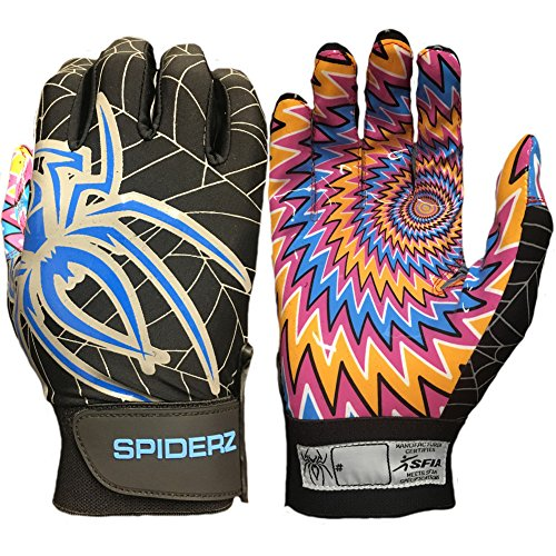 Spiderz Adult RAW Football Glove with Psychodelic Palms (Black/Typhoon Blue, Large) ()