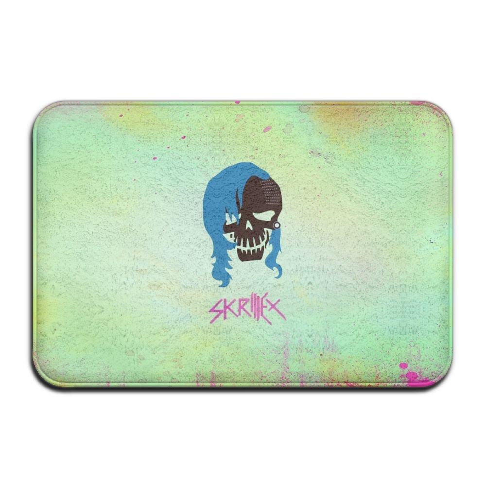 YUYU Green Skull Pink Blue Dubstep Movies Kitchen White Memory Foam Bathroom Mat 16x24 Inch Customized Artwork Print