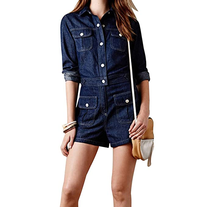1d5a00fdf84 WeHeart Women Long Sleeve Jeans Style Jumpsuit Single Breasted Slim Fit  Demin Rompers (Navy Blue