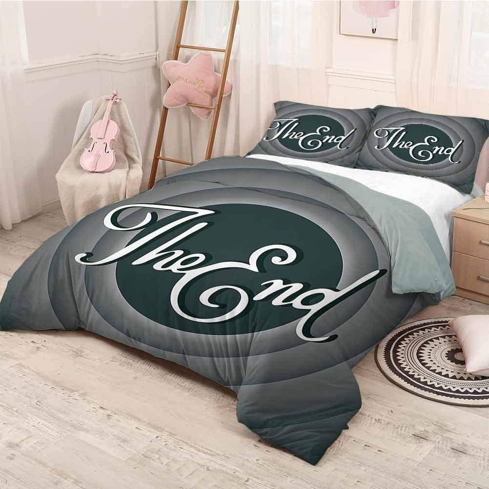 prunushome 1950s Decor Collection Bedding Duvet Cover Set Vintage Movie Ending Screen Camera Hollywood Industry Historic Entertainment Film Television Image Decorative 3 Piece Bedding Set Queen Size