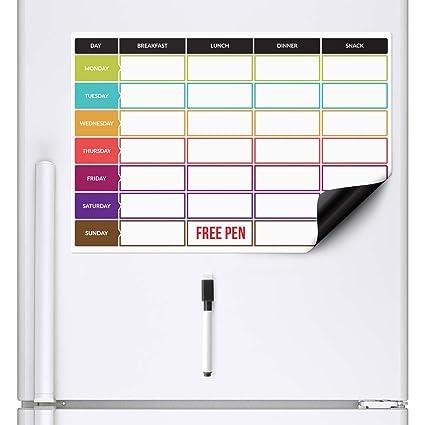 CKB LTD planificador de dietas | Pizarra blanca magnética para el frigorífico con rotulador A3, Ideal para la planificación de las comidas familiares, ...