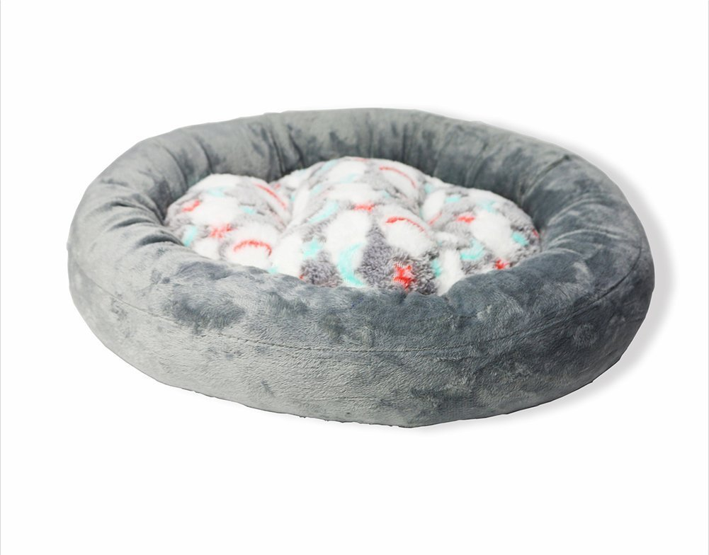 Cat Warmer Mat Thick Soft Candy colord Round Kennel Pet Nest Autumn Warm Waterloo Dog Bed Cat Bed Mat (color   Grey, Size   S)