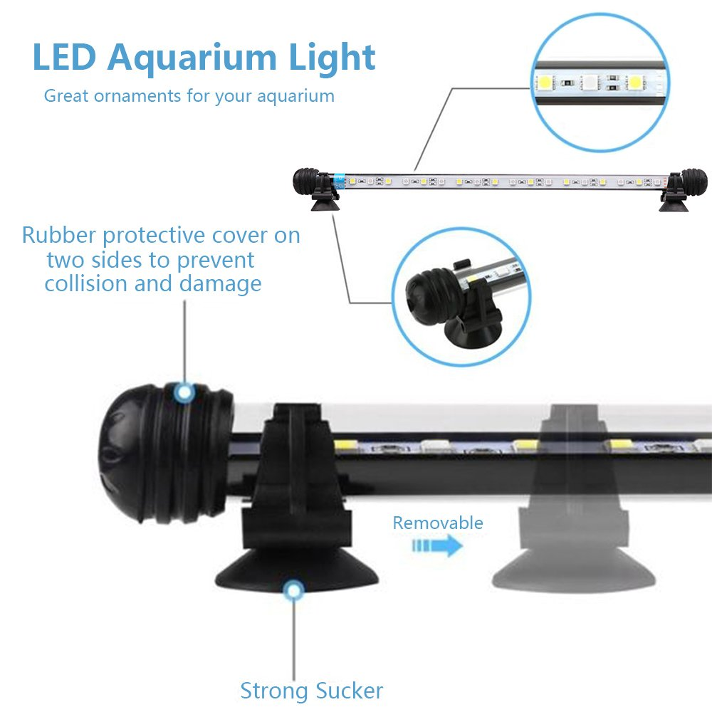 9 Sizes 92 cm, RGB MLJ LED Aquarium Lighting for Fish Tank Waterproof Amphibious Light White /& Blue//RGB