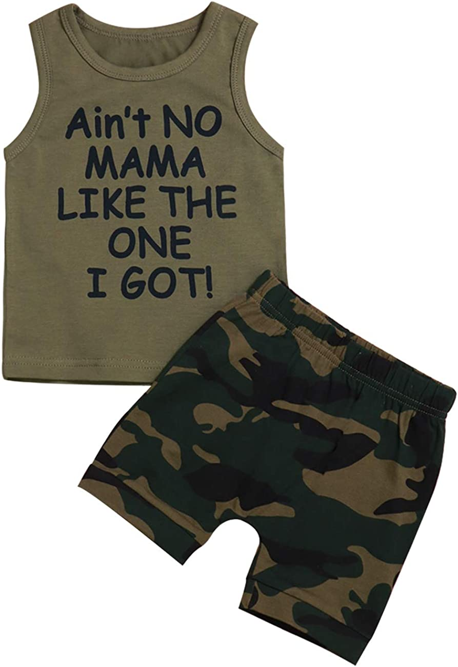 Toddler Baby Boy Clothes Ain't No Mama Like The One I Got Vest and Camouflage Short Outfits Set