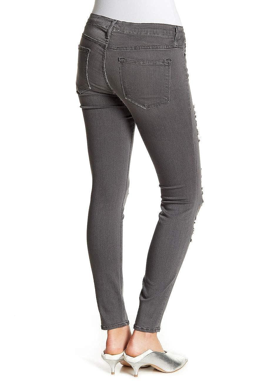 Distressed FRAME Le Skinny De Jeanne Satine Rips in Grey Shred