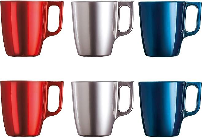 Luminarc Flashy Set 6 tazas desayuno mugs café de vidrio con asa para microondas 25cl, Negro: Amazon.es: Hogar
