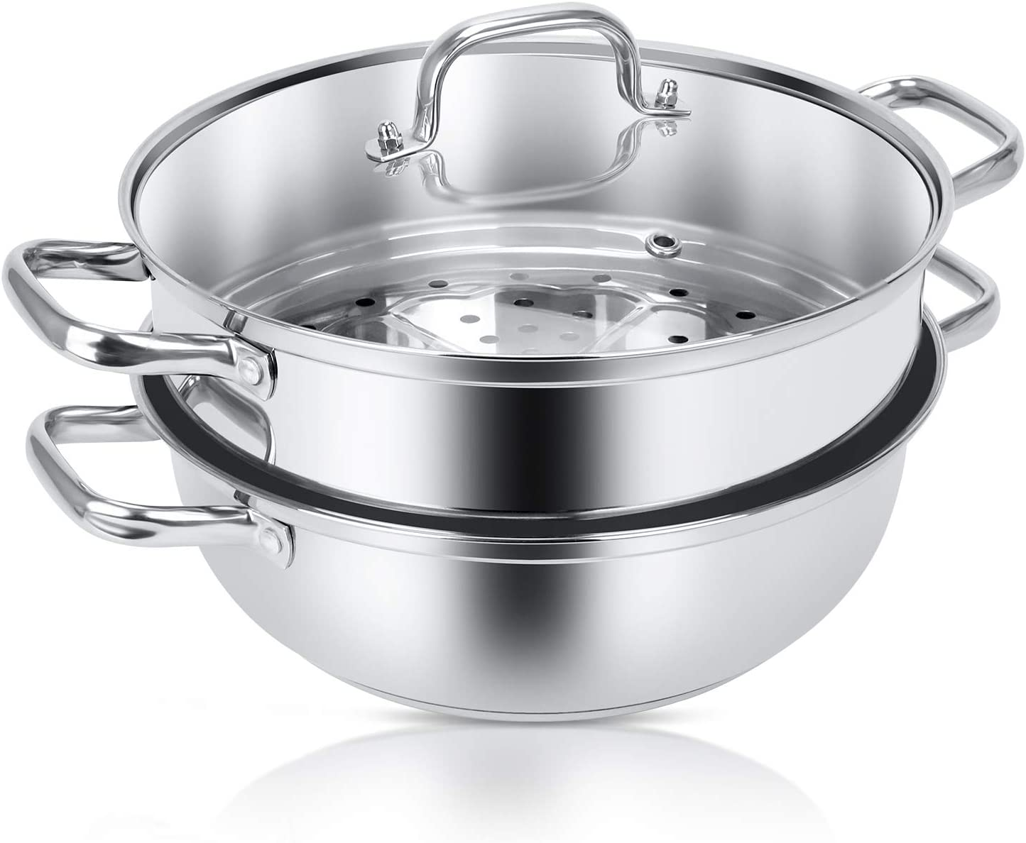 Jeekscss 304 Stainless Steel Steamer Cookware,Physical Anti-stick Pot Design,Sauce Pan with Glass Lid, Double Handle,Multi-purpose Steamer Saucepot Double Boiler,Dishwasher Safe