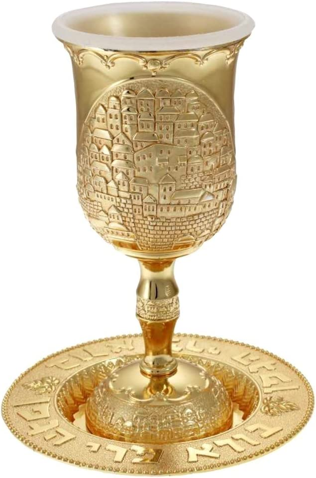 Clear Crystals Filigree Nickel Kiddush Cup Wine Goblet with Saucer for Shabbat and Holidays Gold