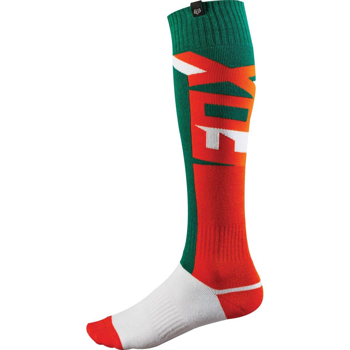 Fox Racing Fri Thin Vandal Men's Motocross Motorcycle Socks - Green/Orange / Small