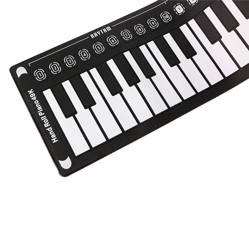 49 Key Speaker Hand Roll Electronic Piano, Portable Folding Electronic Soft Keyboard Piano Suitable for Adult Children Or Gifts for Children(Silver) by C Five (Image #4)