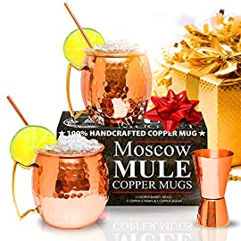 Benicci SYNCHKG100599 Moscow Mule Copper Mugs - Set of 2 16 Ounce Mug with 2 Copper Straws and 1 Jigger, Hammered and Handcrafted 13 ✓ 100% food safe & pure Copper - just like the original 1941 mule: Benicia Copper mugs are not only Authentic but also safe. It went through a comprehensive third party safety and quality tests to make sure that it is food safe. Because we want you to 100% Enjoy your Moscow Mule without worries. ✓ impressive handcrafting - no two are the same: you already know proper handcrafted Moscow mule mugs are as stunning as they are functional. Enjoy your 100% authentic mule cups with a polish finish, you deserve them. ✓ Copper mugs Set of 2 - 12-month Guarantee & gift with purchase: order your Set of 2 Copper mugs today and receive free 2 pure Copper straws and measuring jigger. We're so happy with the craftsmanship on our mugs you get a 12-month money back Guarantee. Order now.