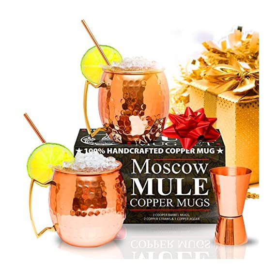 Benicci SYNCHKG100599 Moscow Mule Copper Mugs - Set of 2 16 Ounce Mug with 2 Copper Straws and 1 Jigger, Hammered and Handcrafted 1 ✓ 100% food safe & pure Copper - just like the original 1941 mule: Benicia Copper mugs are not only Authentic but also safe. It went through a comprehensive third party safety and quality tests to make sure that it is food safe. Because we want you to 100% Enjoy your Moscow Mule without worries. ✓ impressive handcrafting - no two are the same: you already know proper handcrafted Moscow mule mugs are as stunning as they are functional. Enjoy your 100% authentic mule cups with a polish finish, you deserve them. ✓ Copper mugs Set of 2 - 12-month Guarantee & gift with purchase: order your Set of 2 Copper mugs today and receive free 2 pure Copper straws and measuring jigger. We're so happy with the craftsmanship on our mugs you get a 12-month money back Guarantee. Order now.