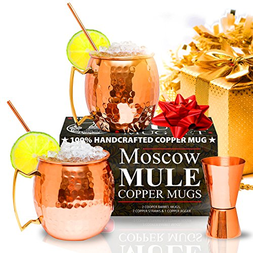 [Moscow Mule Copper Mugs - Set of 2 - 100% HANDCRAFTED - Pure Solid Copper Mugs 16 oz Gift Set with BONUS: Highest Quality Cocktail Copper Straws and] (Fake Mustache Kit)