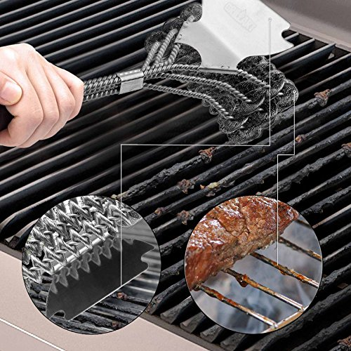 "Weetiee Grill Brush and Scraper Bristle Free - Safe Barbecue Grill Brush – 18"" Best Stainless Steel BBQ Accessories Cleaner for All Grill Grates BBQ Grill Brush for Grill Wizard by Weetiee (Image #1)'"