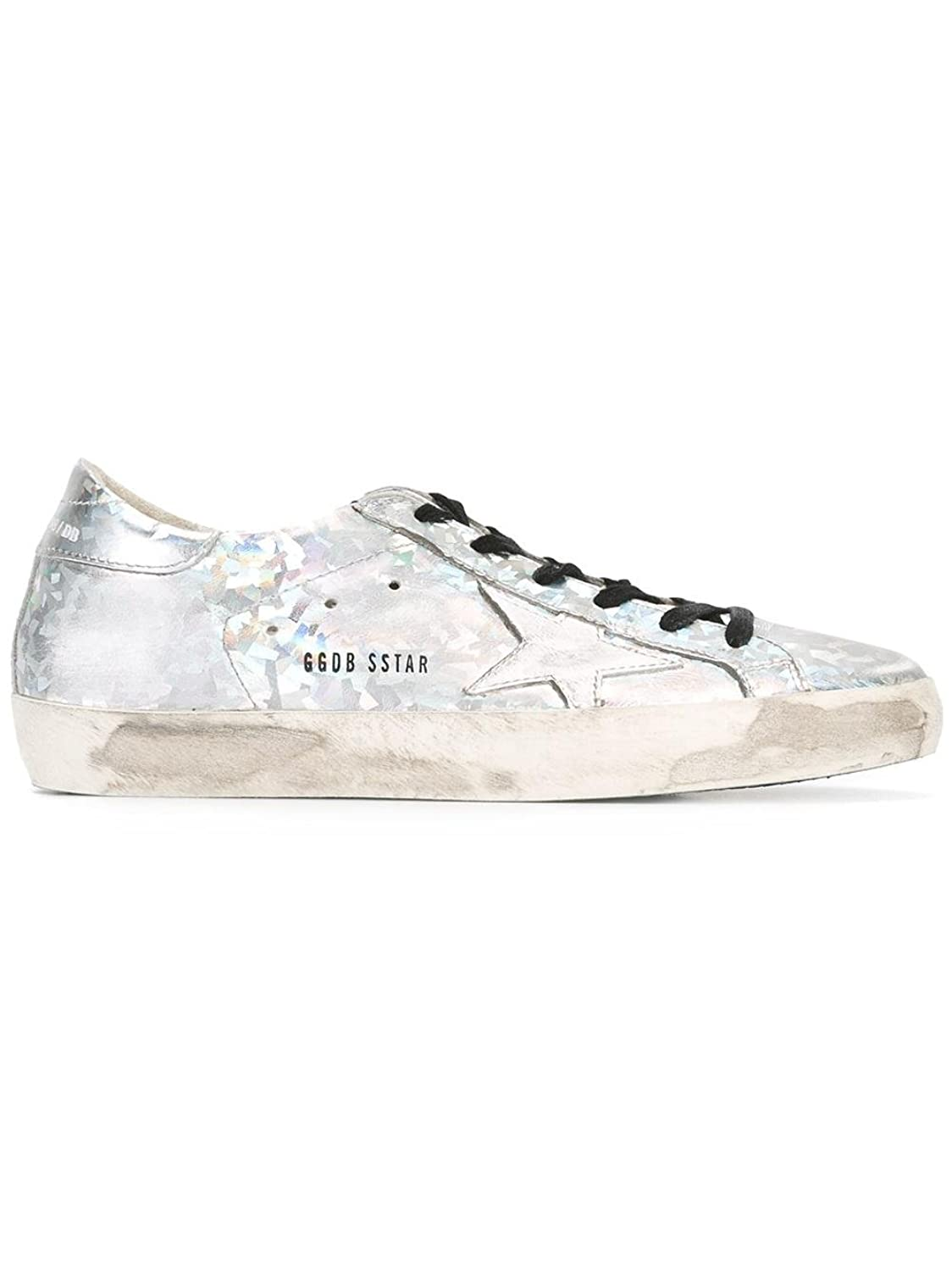 GOLDEN GOOSE WOMEN'S G30WS590B14 SILVER LEATHER SNEAKERS