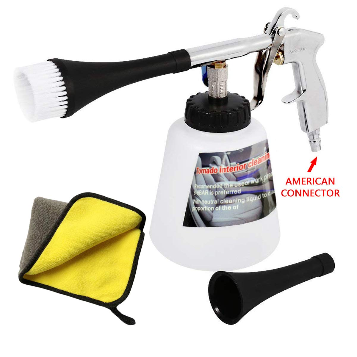 Car Cleaning Gun High Pressure Cleaning Tool Tornador Interior Pulse Air Cleaner Gun Care Blow Gun Inside Car Cleaning Unit Plastic Nozzle With US Connector