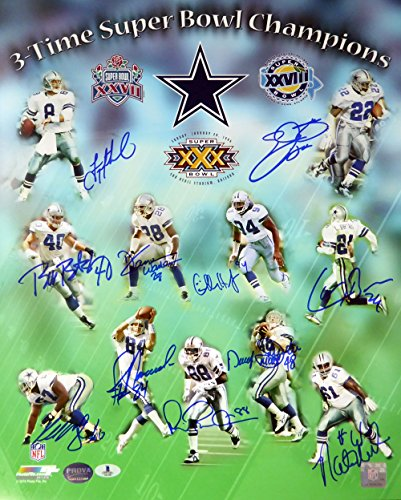 (3 Time Super Bowl Champion Dallas Cowboys Autographed 16x20 Photo With 11 Signatures Including Emmitt Smith, Aikman, Irvin & Brown Beckett BAS)