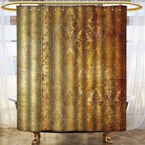 (aolankaili Bathroom Shower Curtain Vintage Shabby Background with Classy Patterns Waterproof and Mildewproof Polyester Fabric/W60 x L72)