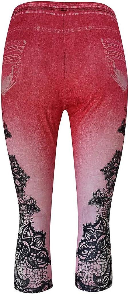 aihihe Women Bermuda Shorts Plus Size Capri Jeans Stretch Yoga Shorts High Waist Ripped Denim Legging with Pockets