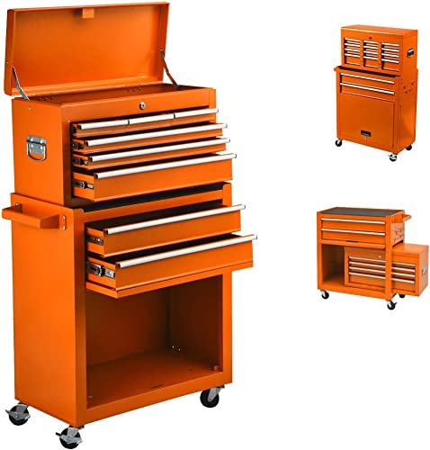 8 Drawer Rolling Tool Chest Big Capacity Tool Chest Tool Storage Cabinet with Sliding Drawers and Locking System Tool, Removable Toolbox for Garage and Warehouse,4 Swivel Casters and 2 Brake Orange