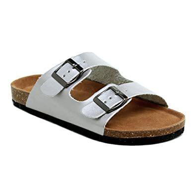 fe747312b71b Women s Cork Slides Summer Buckle Two Straps Flat Sandals Slippers Casual  Shoes Silver 6