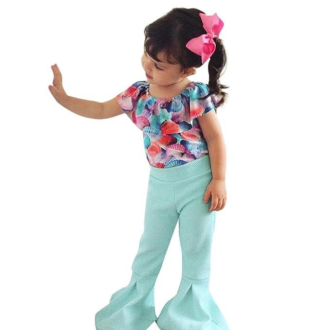 Amazon.com: xeduo niño niños niña trajes Off hombro Seashell ...