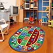 Furnish my Place Kids Rug ABC Alphabet Numbers and Shapes Educational Area Rug Non Skid Backing, Oval
