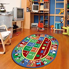 Letter & numbers rug anti slip backing for safety of kids non-skid rubber bottom, machine washable, power loomed construction with nylon bacteria resistant surface is perfect for homes with kids and pets.