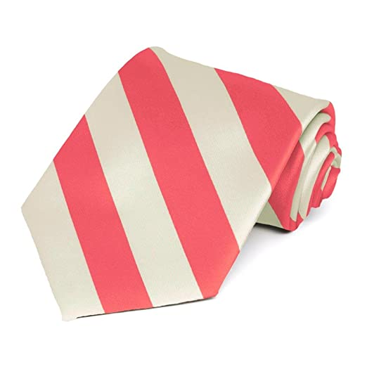 b4db2b67d8c2 Coral Pink and Ivory Striped Tie at Amazon Men's Clothing store: