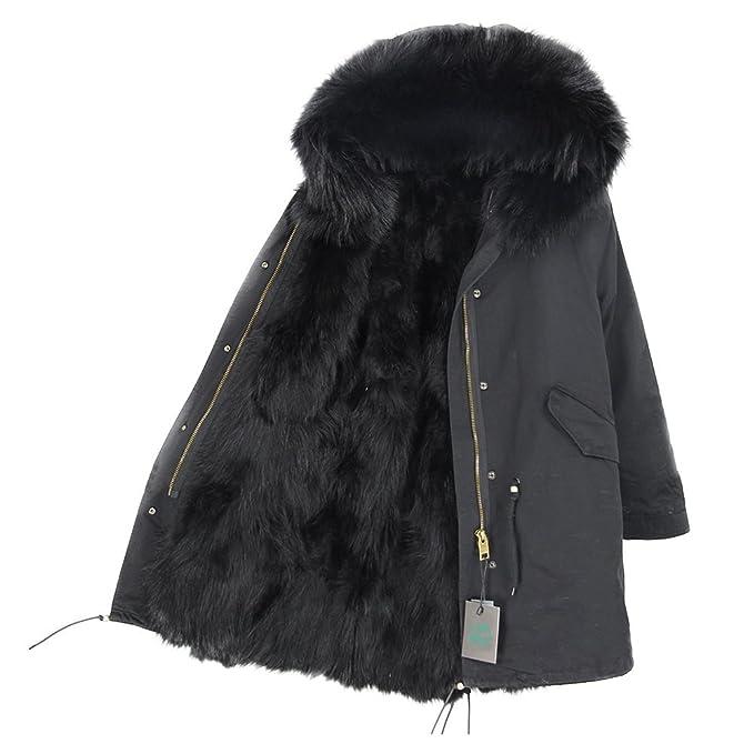 Lea Marie Abrigo de Cuello Luxury Parka XXL de 100% Piel Real de auténtico Pelo Chaqueta Mujer Zorro Forro con Pelo: Amazon.es: Ropa y accesorios