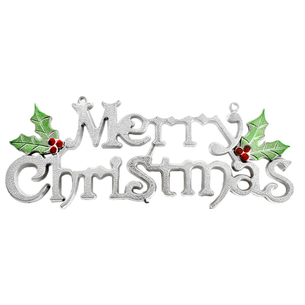 YeahiBaby 19cm Christmas Tree Decoration Shiny Merry Letter Card for Xmas Hanging Ornament (Silver)
