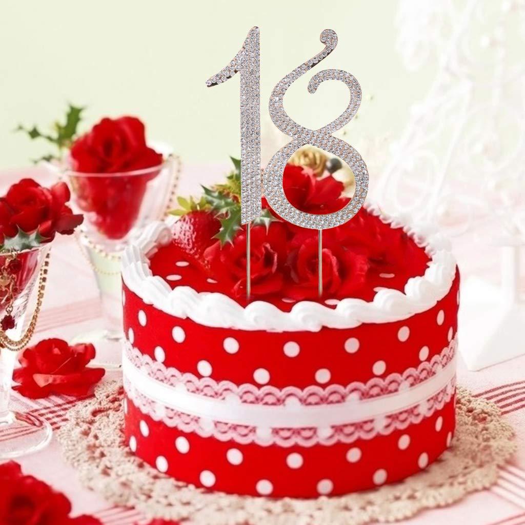 LyGuy per 18/° Compleanno Anniversario Decorazione Matrimonio Colore: Argento Topper per Torta con Strass e Numero 18