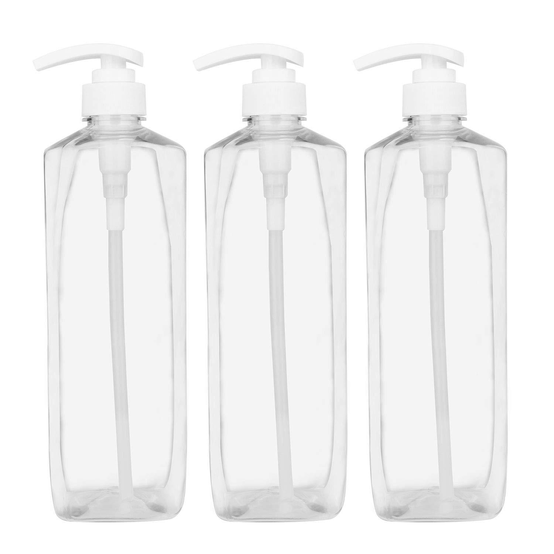 Plastic Pump Bottle 32oz,Woaiwo-q Soap Dispenser Empty Shampoo Dispenser Bottles for Cleaning Solutions,Hair,Oils,(3 Pack.1000ml)