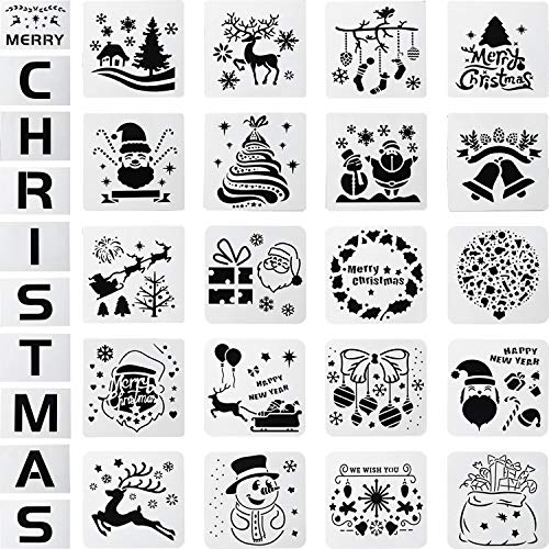 30 Pieces Christmas Plastic Drawing Stencils Snowflakes Snowman Painting Stencils Santa Christmas Tree Elk Template Reusable Plastic Craft for Christmas DIY Decoration (Christmas Stencils Lettering)
