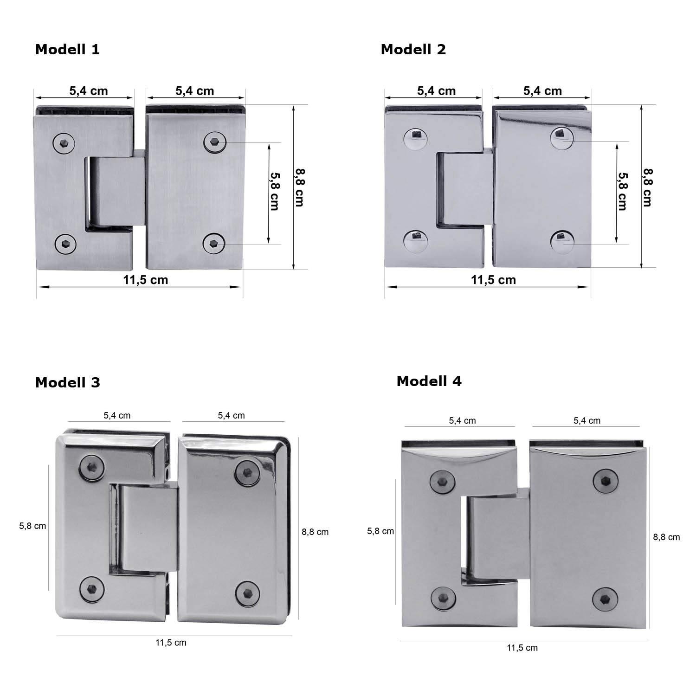 Modell:Modell 1 2 Glasscharniere 180/° Glas-Glas Duschkabine Glashalterung Scharnier Glast/ür Dusche Bad Beschlag Matt Verchromt Edelstahl