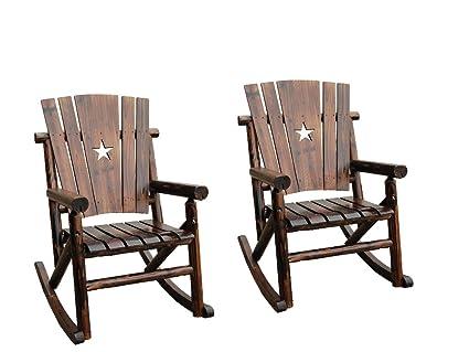 Attirant Leigh Country Char Log Rocker Chair Combo (Star Rocker Chair(2))