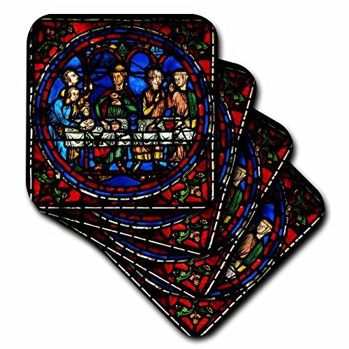 (3D Rose Notre Dame De La Belle Verriere Stained Glass Window in Paris Ceramic Tile Coasters Multicolor)