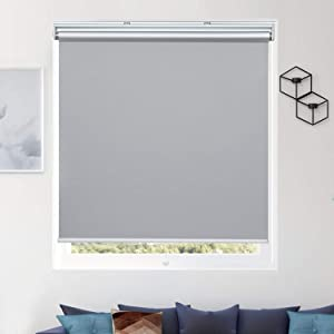 "Donutse 100% Blackout Fabric Shades Cordless Roller Shades for Windows, Window Blinds and Shades for Home and Office, Thermal Insulated, UV Protection, Grey, 35"" W x 72"" H"