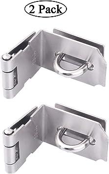 Pestillo de seguridad de acero inoxidable para puerta corredera/corredera, 2 unidades, 2,0 mm de grosor, níquel satinado, 10,16 cm: Amazon.es: Bricolaje y herramientas
