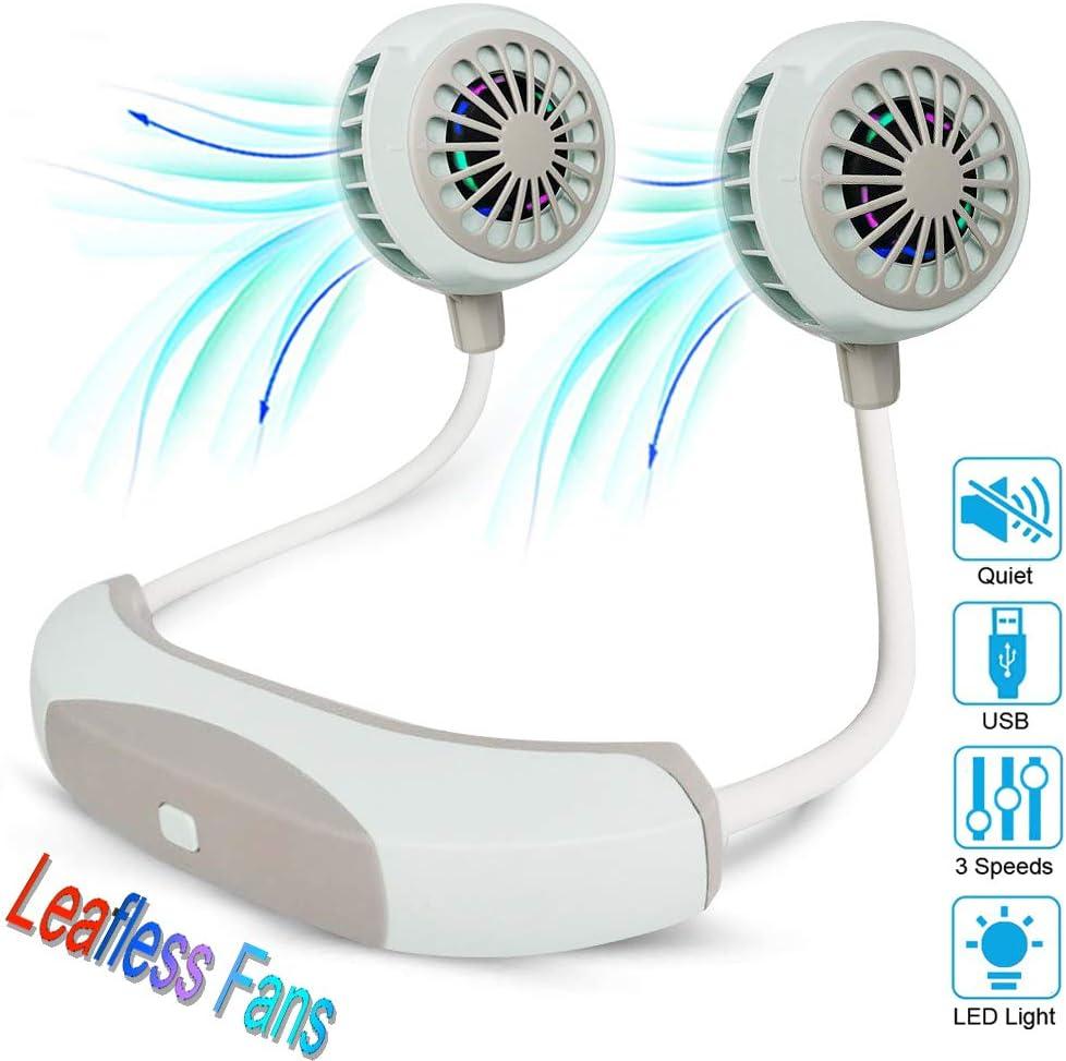 Portable Neck Fan Personal Wearable Neckband Fan [Leafless Fan], Cooling Folding USB Rechargeable Fan Hands Free Neckband Fan for Sport Travel Office(Blue)