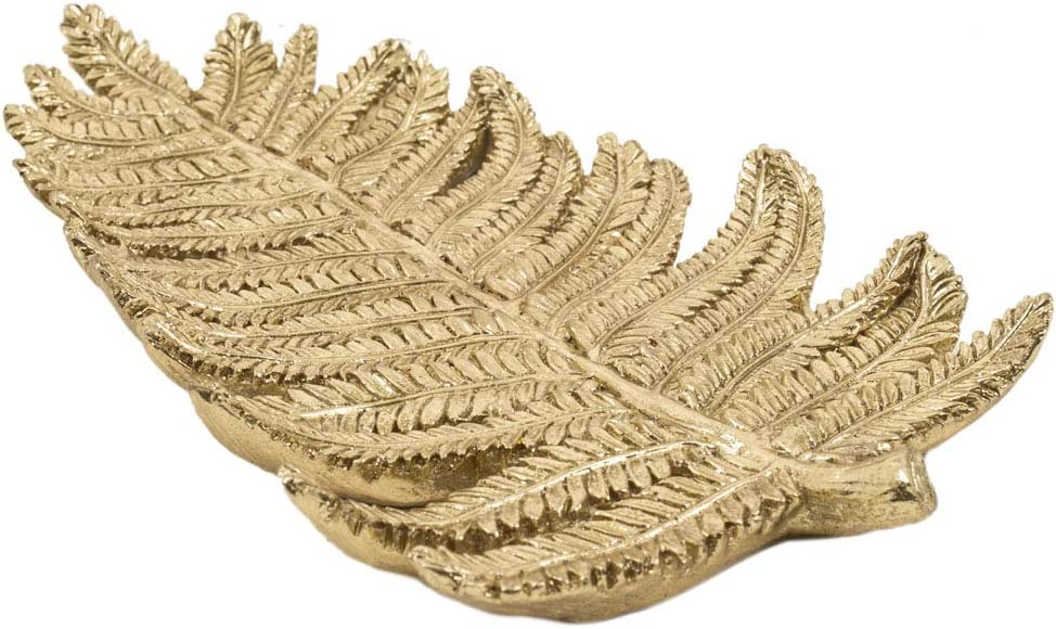 Chumbak Tropical Leaf Gold Decor - Serving Accent Piece, Platter for Everyday Essentials, Organizer for Jewelry, Home Décor, Table Décor, Size 4.9