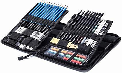 Set De Lapices De Dibujo,Bosquejo LáPices De Dibujo Del ArtíStico Profesional Materiales Para Dibujo Artistico Lapiz Kit Estuche PortáTil(48pcs): Amazon.es: Oficina y papelería