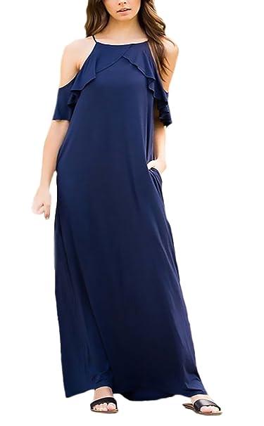 Mujer Vestidos Largos Verano Elegantes Casual Sueltos Maxi Vestido Hombros Descubiertos Halter Con Volantes Con Bolsillo