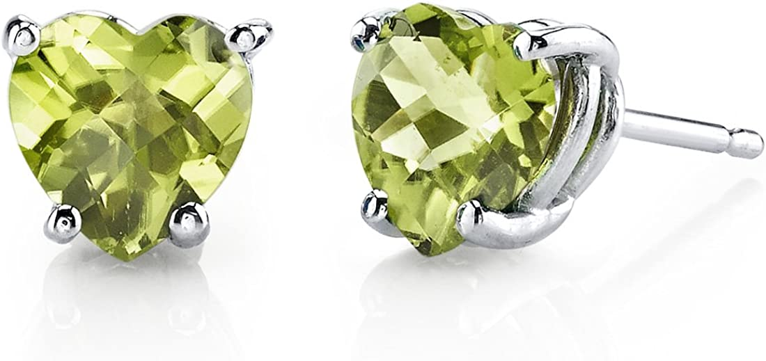 14 Karat White Gold Heart Shape 1.75 Carats Peridot Stud Earrings