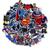 Superman Batman Laptop Stickers Vinyl - 35 Pack DC Comic Cartoon Decals for Water Bottle Skateboard Phone Case Car Bike Bumper Luggage Helmet Bomb Waterproof No Repeat