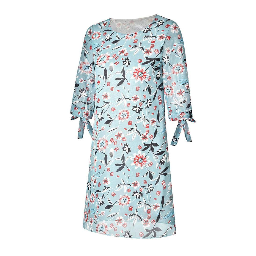 Womens Mini Dresses O-Neck Printing Long Sleeves Chiffon Clearance